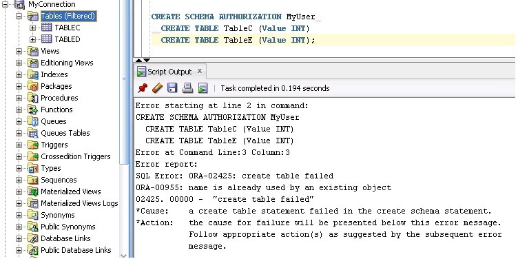 oracle create schema